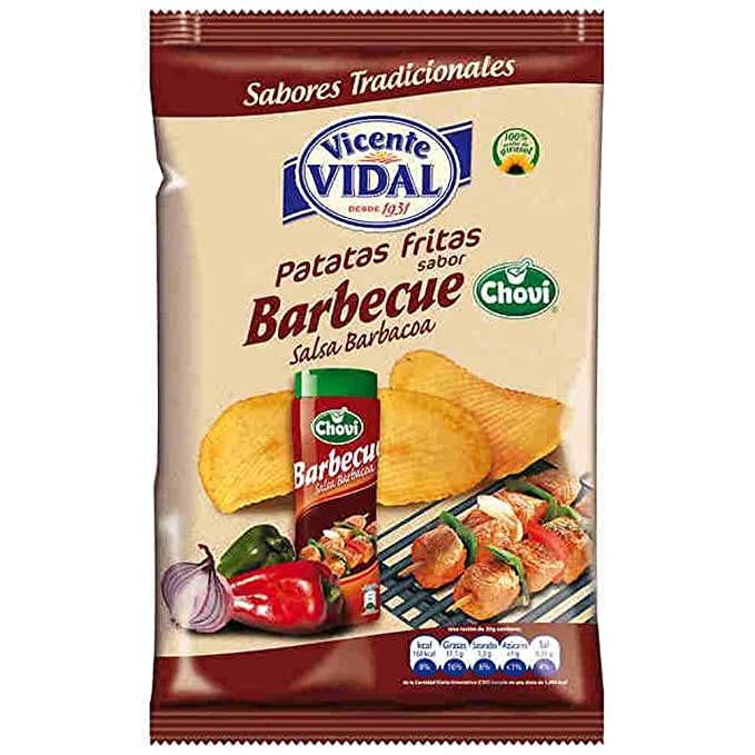 Patatas Fritas Vicente Vidal Onduladas Sabor Barbecue Salsa Barbacoa Chovi Bolsa 135Grs