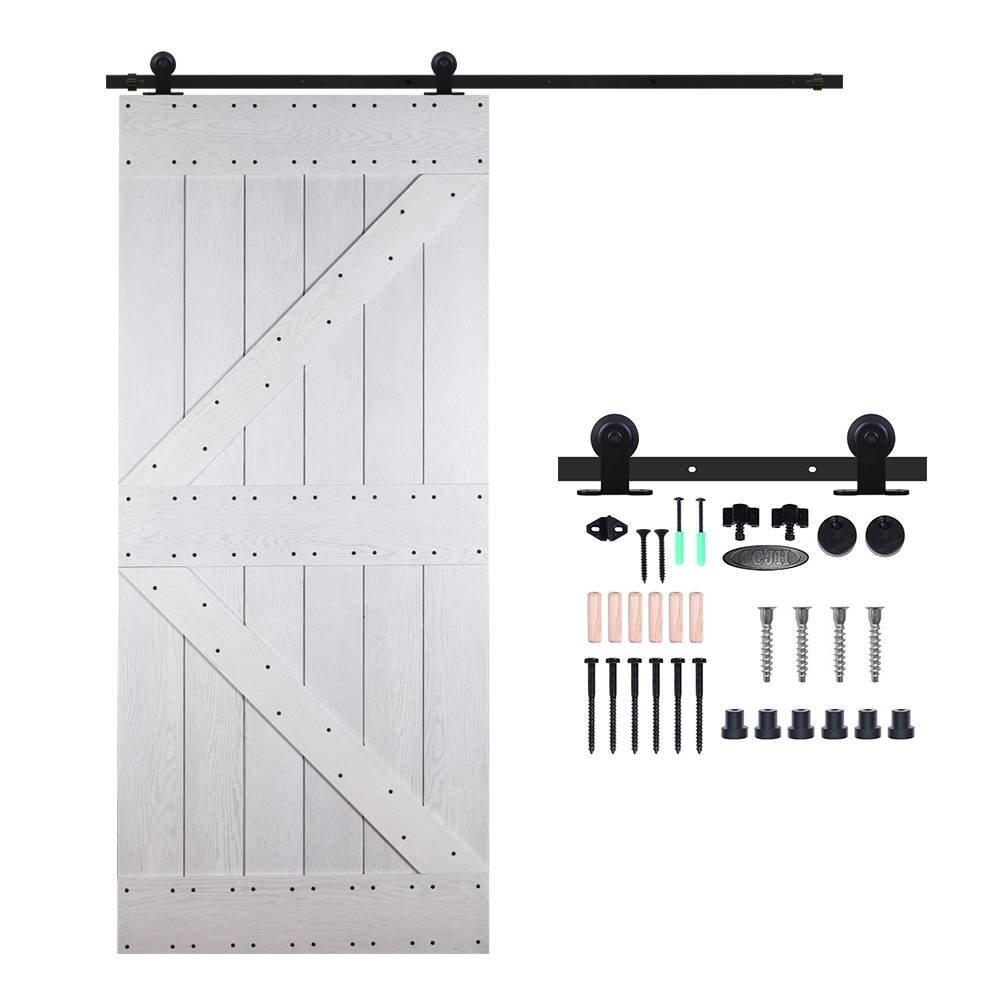 CCJH 5FT-153cm Retro Corredizo de Madera Granero Puerta Hardware Kit Armario Corredizo de la Riel Colgadores de Rueda para una sola Puerta T Shaped XHKJ
