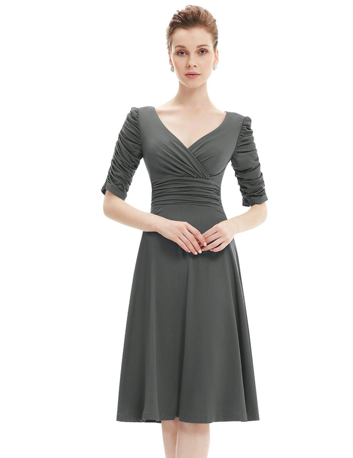 Grey Party Knee Length Dress: Amazon.com