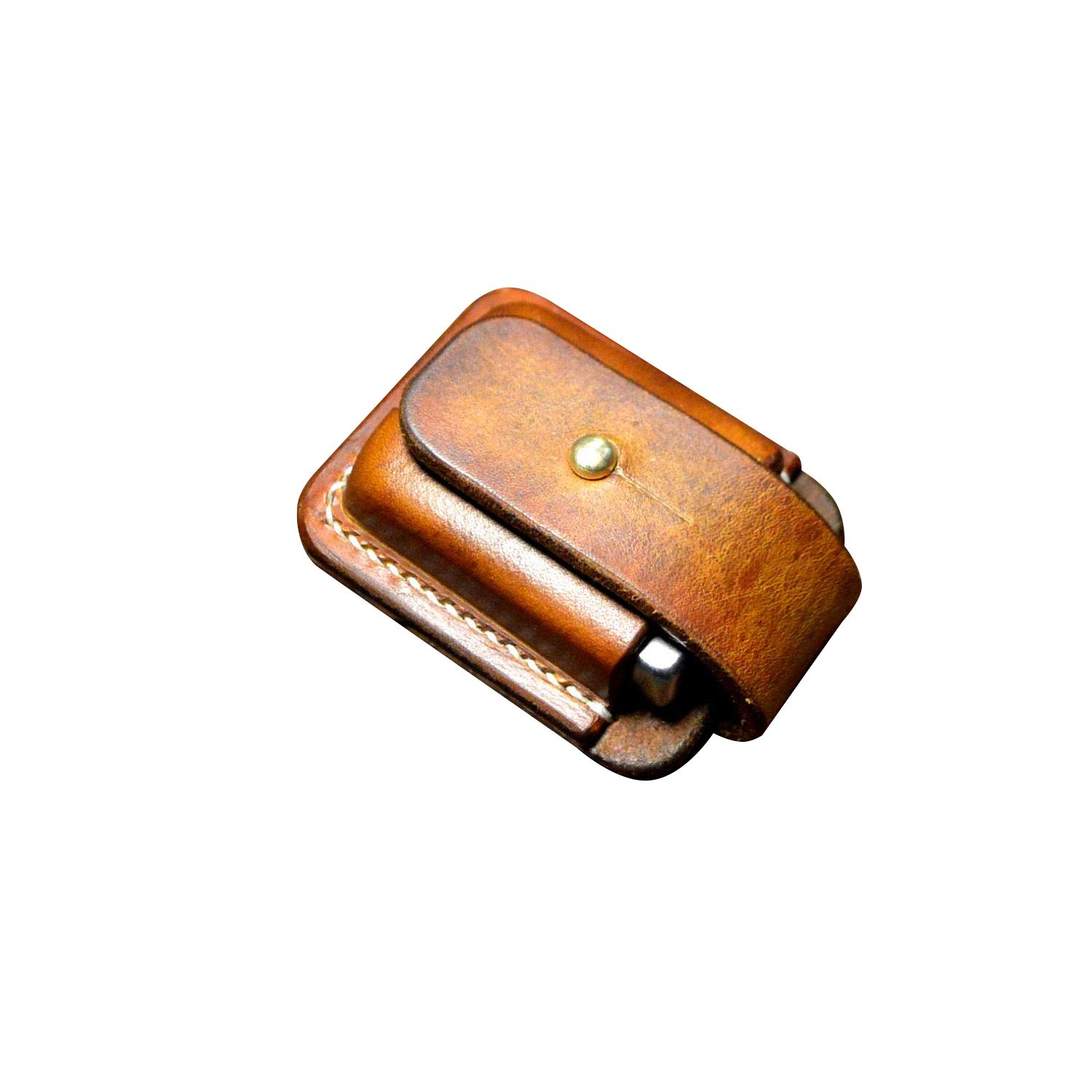 Hand Made Leather Lighter Protective Sleeve case Genuine Full Grain Cowhide Handcrafted Pouches Holder (Brown) by BAVER (Image #2)