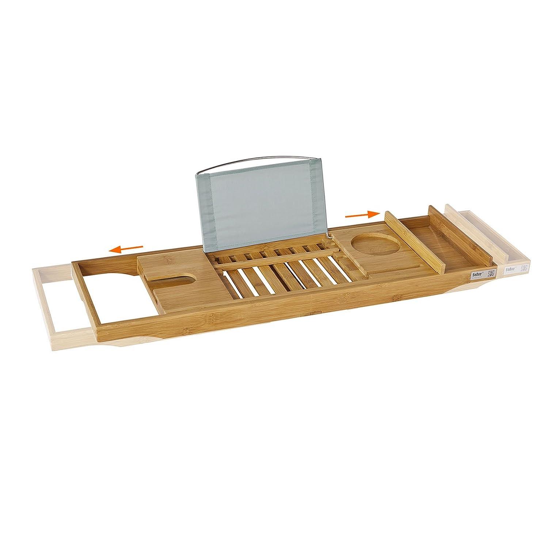 SoBuy® FRG207-N Badewannenablage aus Bambus Badewannenbrett mit Buchstütze, Wein Glashalter und Seifenfach, ausziehbares Badewannenauflage BHT ca: (70-104cm)x4x22cm