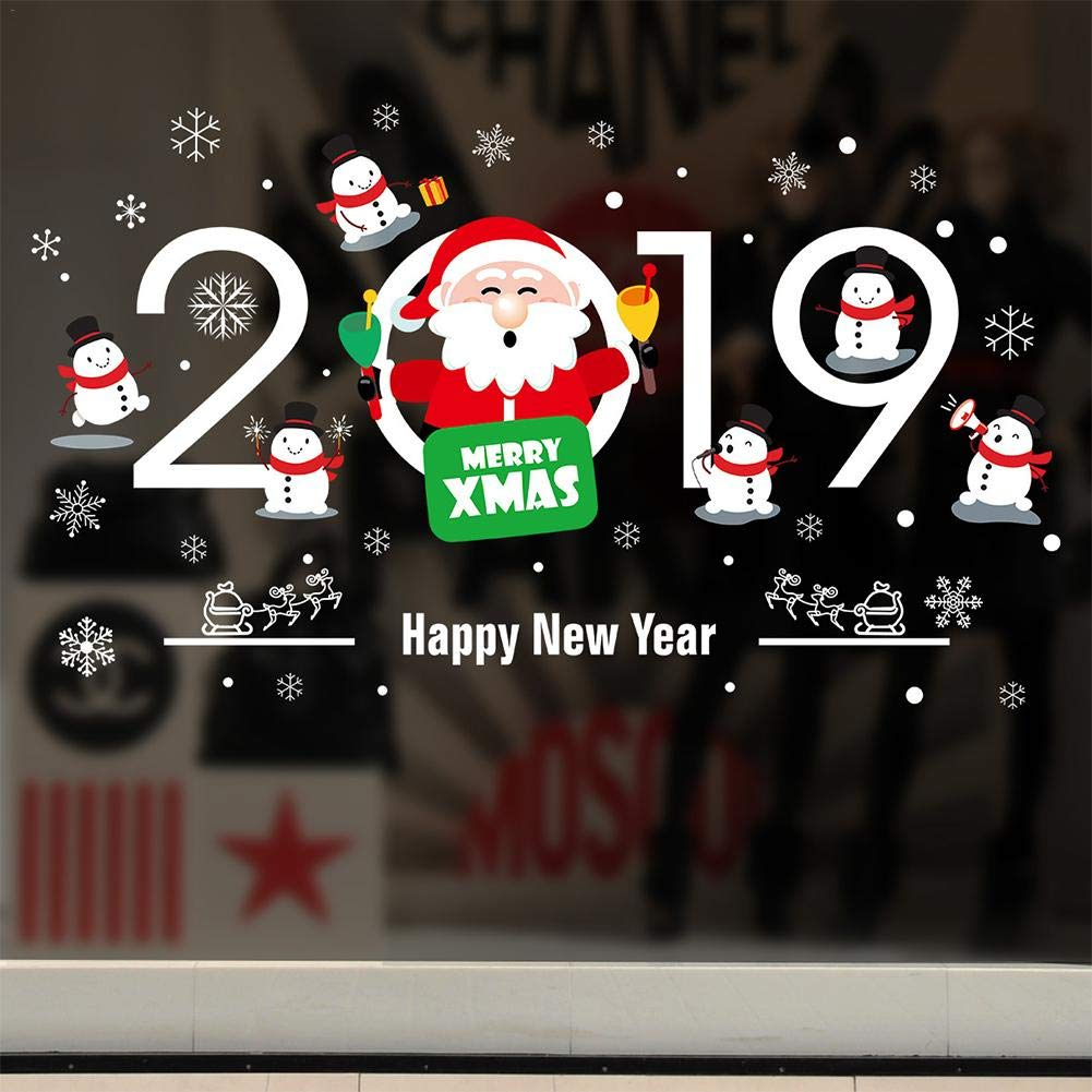 feiledi Trade Home Decor Natale Vetrofanie Autoadesivo Pendente Pupazzo di Neve Ghirlande di Natale Ghirlanda di Babbo Natale Ciondolo di Babbo Natale Anno Nuovo Adesivi murali in Vetro