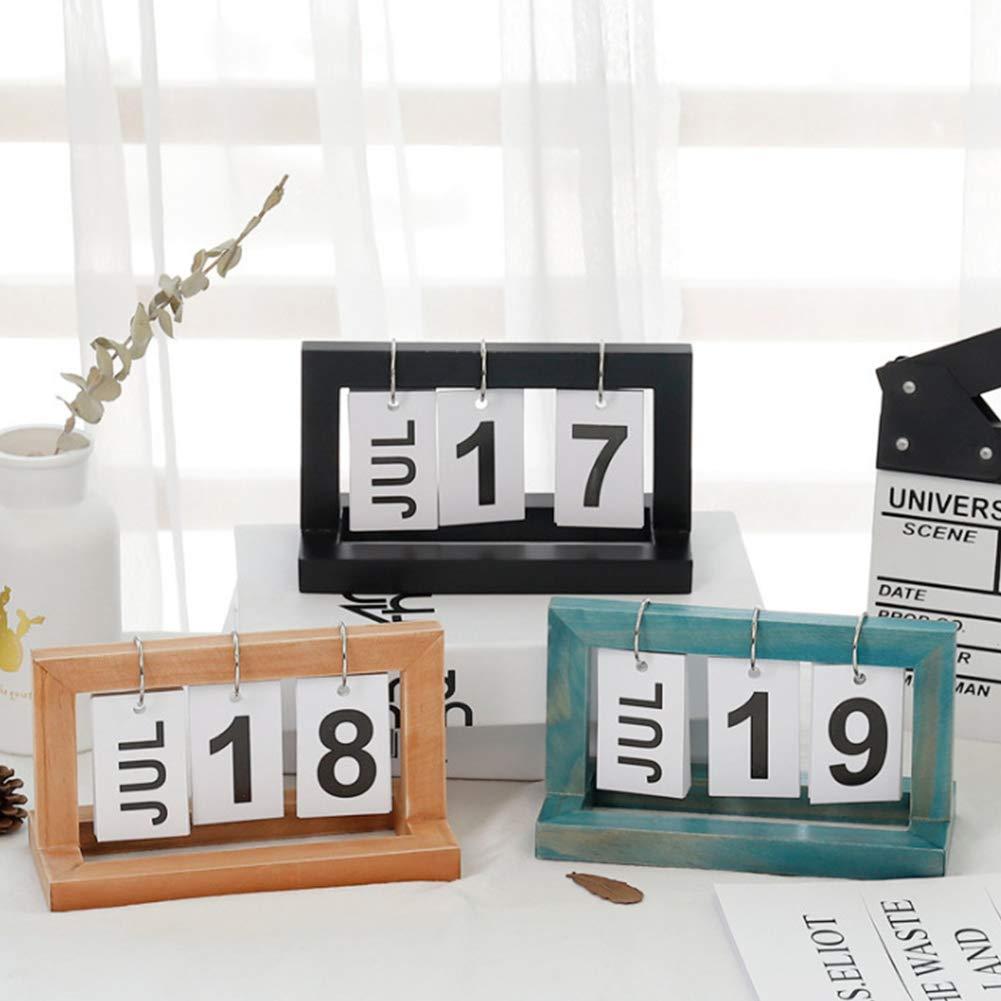 Ruiting Flip Legno Blue Calendario Nordic Elegante Flip Anello Desktop Calendar Tabella 2019 Calendario Perpetuo