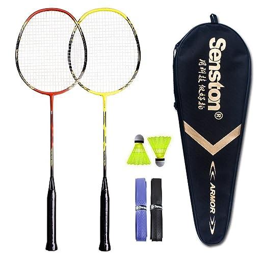Senston 2-Player Badminton Set - Badmintonschläger Carbon Badminton Set - Inklusive 2 Schläger/2 Shuttlecocks/2 grip/1 Schlägertasche