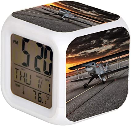 Giapano Led Alarm Colock 7 Colours Desk Gadget Alarm Digital Thermometer Night Cube Bright Home Decor Black And White Aviation Aircraft Arrive At Sunset Amazon Co Uk Kitchen Home