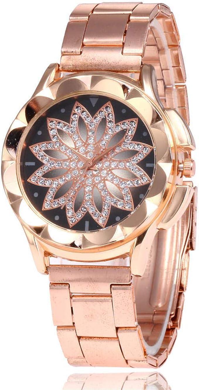 Reloj para Mujer Pulsera Regalo Diamante Reloj de Pulsera de Acero ...