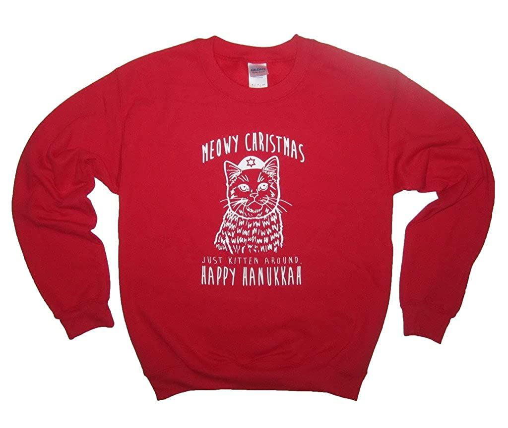 BTRLTees Meowy Christmas Just Kitten Around Happy Hanukkah Holiday Sweatshirt 5020110100