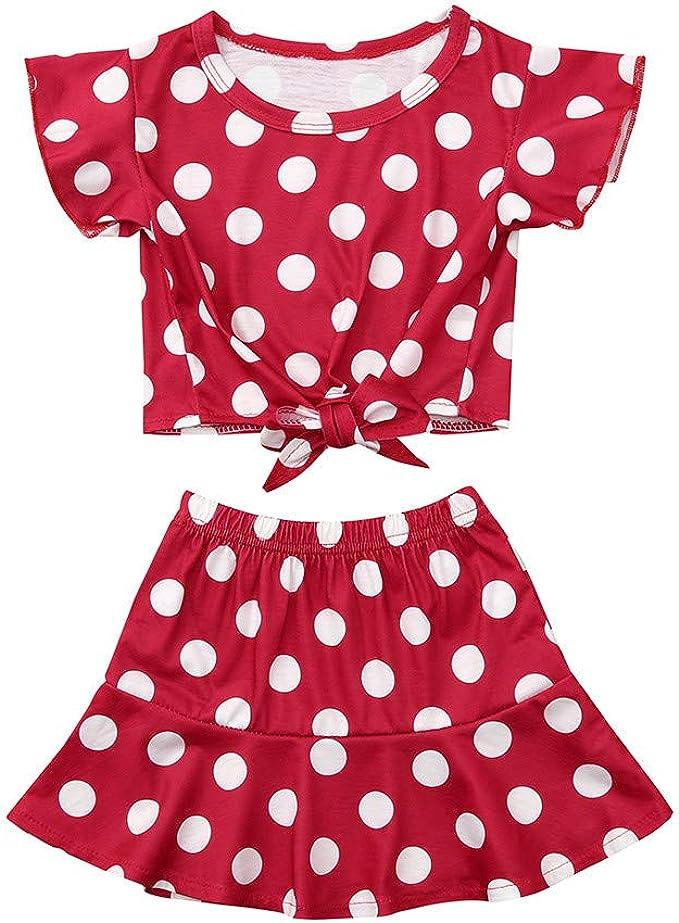 Conjunto de Ropa Casual de Camiseta y Falda de Lunares para bebé ...