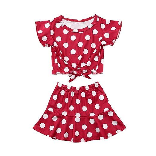 Conjunto de ropa con estampado de lunares para niñas pequeñas ...
