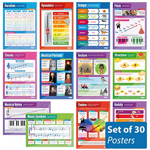 Music Posters - Set of 30 Essential Music Posters | Music Posters | Gloss Paper Measuring 33