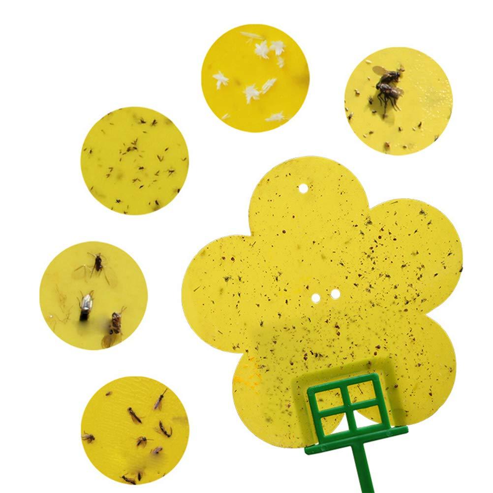 Adesivi Gialli trappole adesive Decorative per Piante in Vaso Contro parassiti con 12 Pezzi 2 aste Mosche Gialle Yissma Spine Gialle