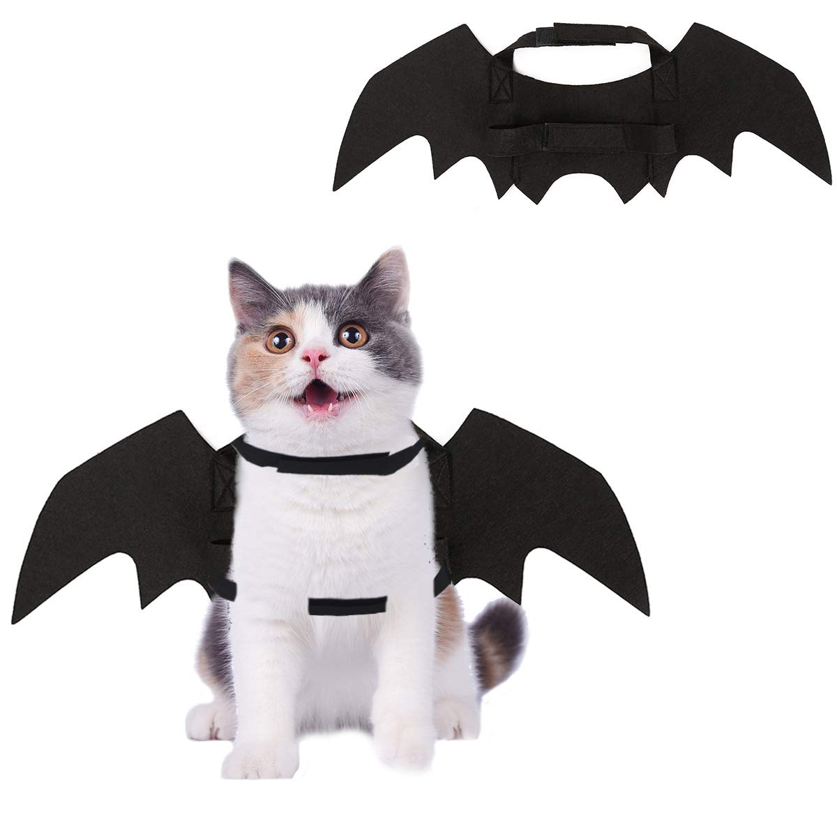 HOMIMP Halloween Pet Bat Costume for Cats and Puppies Black Wings HM0919PW