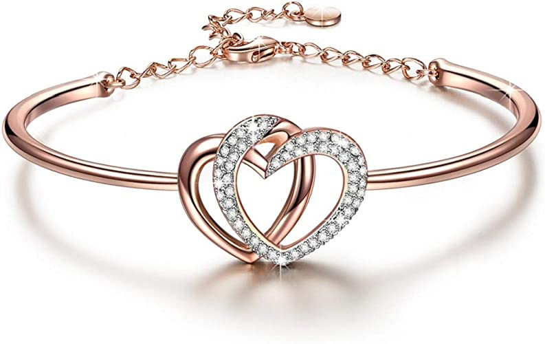 J.NINA ✦Guardian of Love✦ Bracelet Gifts for Women Charming Heart Bracelets  Gifts Rose Gold Plated with Crystals Romantic Gift for Her