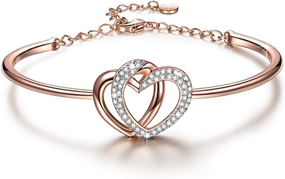 4fb899c5a2368 ♥ Guardian of Love ♥ Charming Heart Bracelet for Women Rose Gold Plated  with Crystals from Swarovski ♥ Romantic Gift for Her ♥