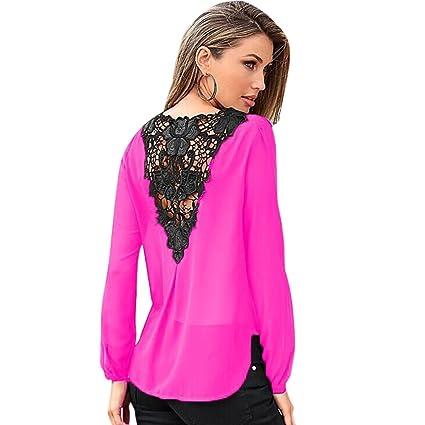 Eleery - Blusa para mujer, encaje y crochet, manga larga, cuello de pico