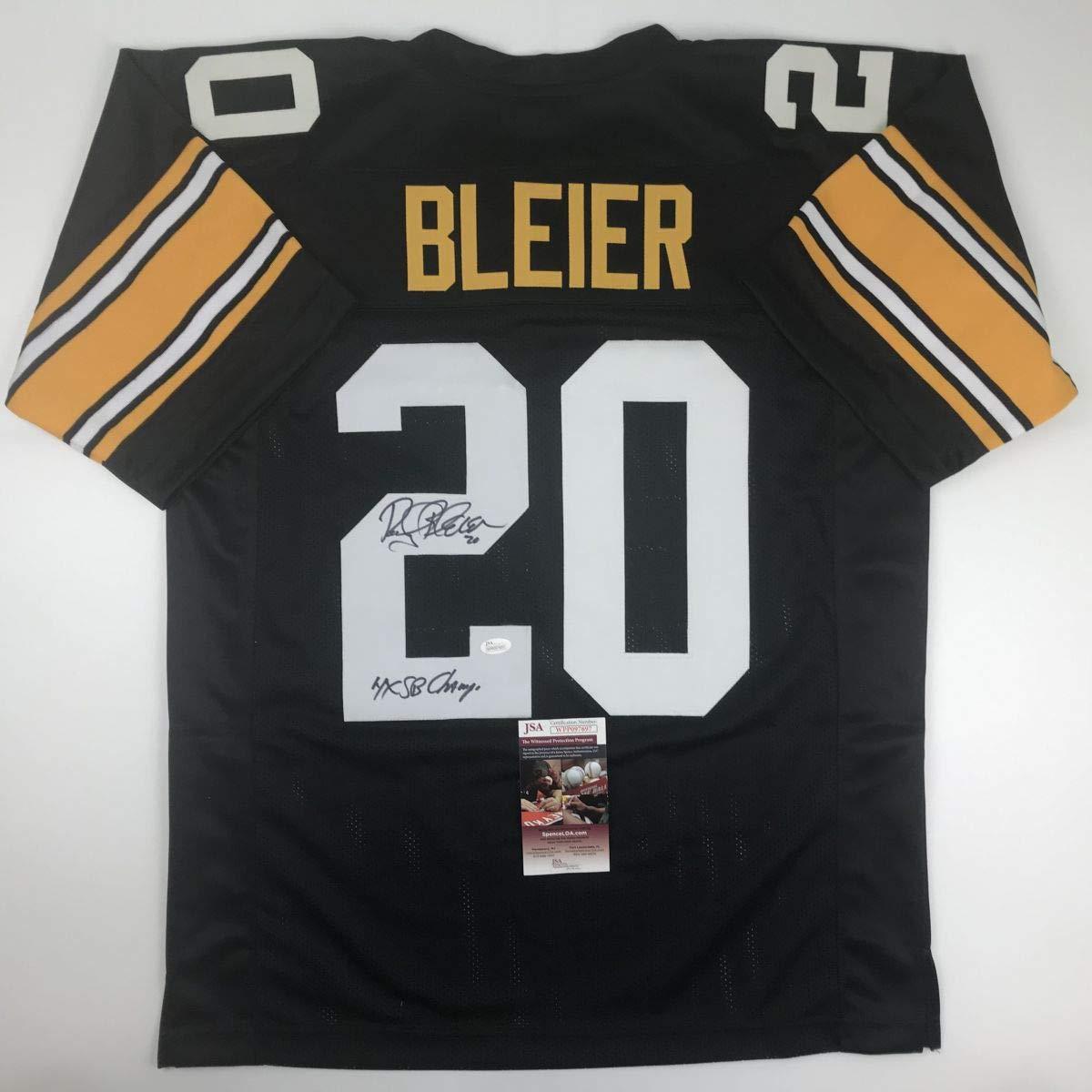 Autographed//Signed Rocky Bleier 4x SB Champ Pittsburgh Black Football Jersey JSA COA