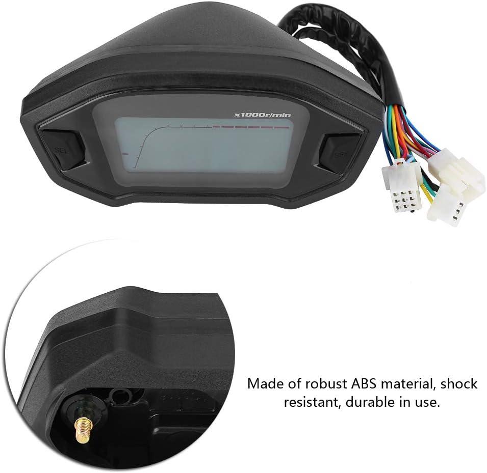 Terisass DC 12V LCD Compteur Kilom/étrique Universel avec 7 Couleurs Compteur de Vitesse Num/érique pour Moto