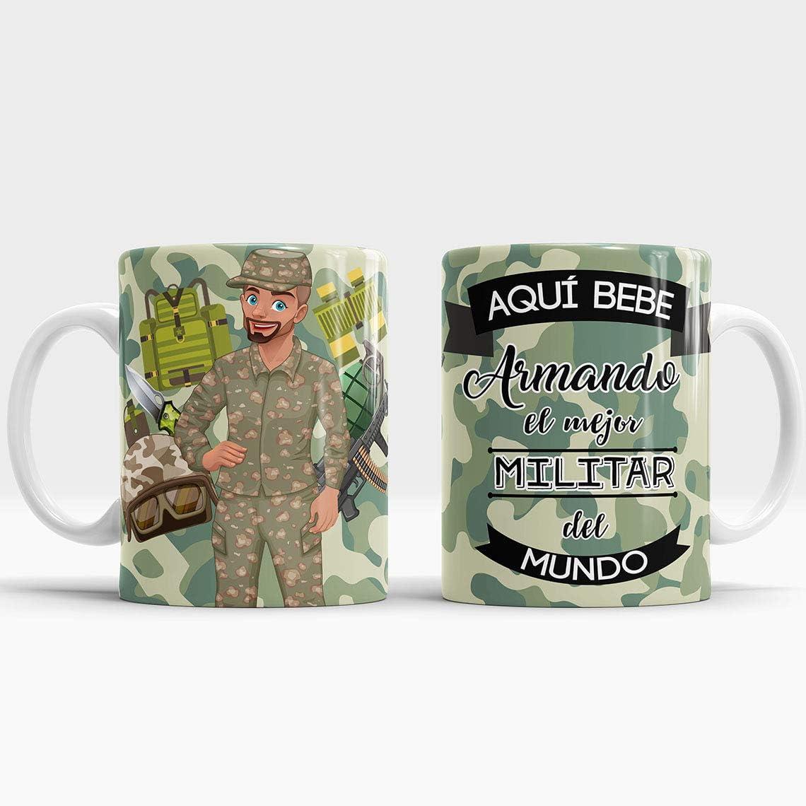 Taza Aquí Bebe el Mejor Militar del Mundo/Taza aqui Bebe un Super Militar/Taza Personalizada con Nombre/Taza Regalo Original para Miitar(Militar)