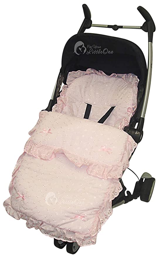 BEAUTIFUL PRAM  COSYTOES FOOTMUFF  COLOUR  WHITE BABY PINK  BOWS