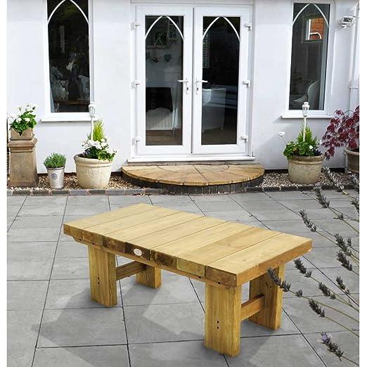 Bajo nivel Sleeper de madera para jardín Patio mesa de café 1, 2 m ...