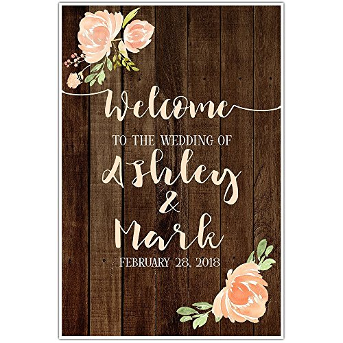Rustic Faux Wood Welcome to our Wedding Sign Poster -