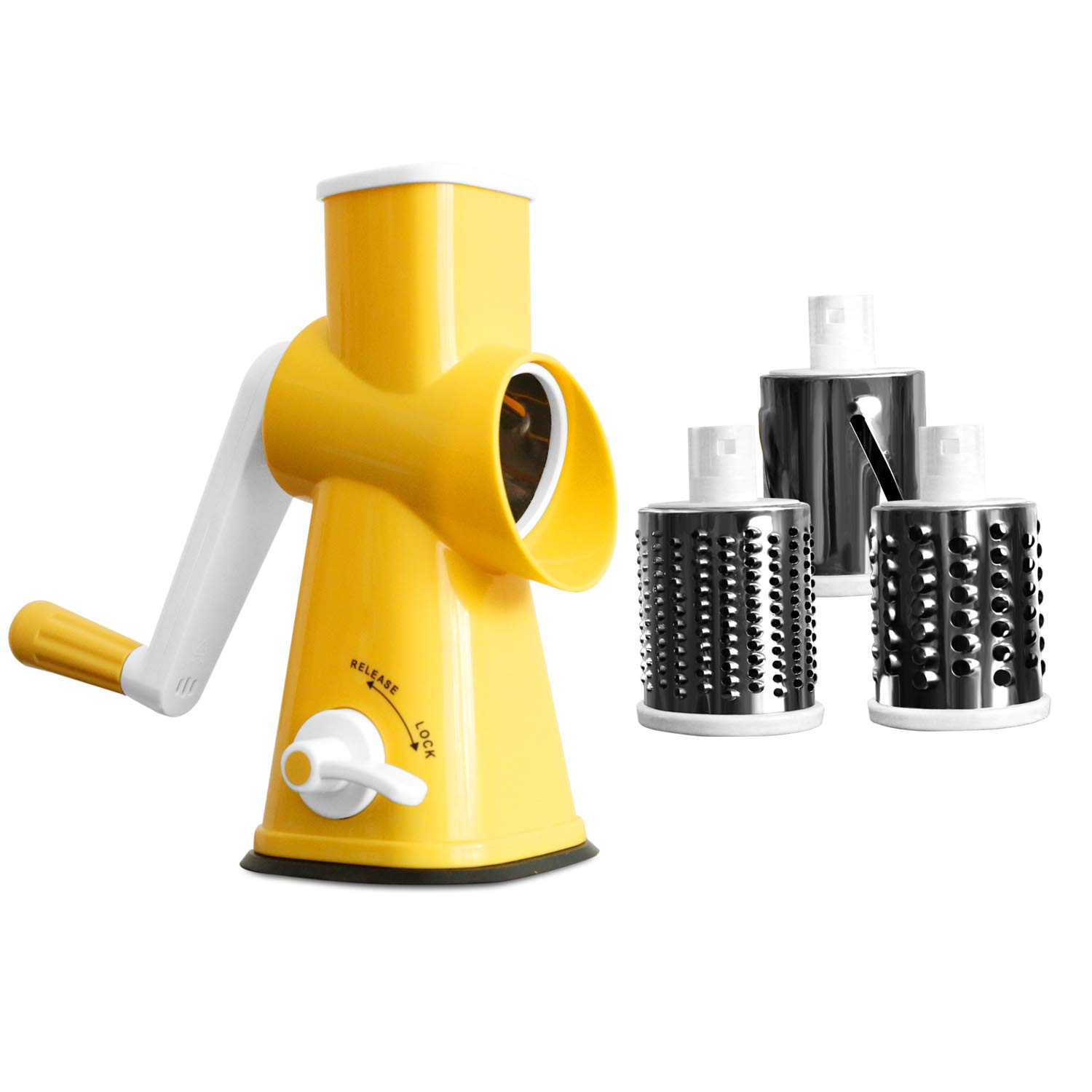 Rotary Cheese Grater Round Mandolin Slicer Vegetable Shredder Cutter Nut Chopper with 3 Interchangeable Shape Stainless Steel Drums