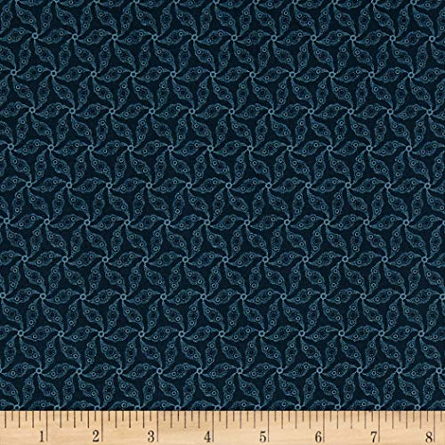 Marcus Brothers Mrs. Miller's Apprentice Farmhouse Weathervane Print Navy, Fabric by the Yard