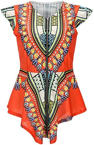 93ef429b04 Bodycon4U Women s Zipper Ethnic Style African Tribal Boho Print Shirts  Blouse Tunic Top
