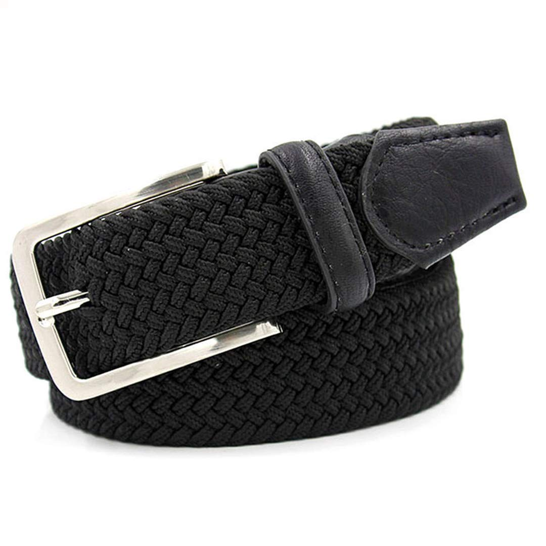 JUIHUGN Men Blue Elastic Stretch Waist Belt Canvas Stretch Braided Elastic Woven Leather Belt 1-3//8 Wide Hot Metal Stretch Belt for Men Black 160cm
