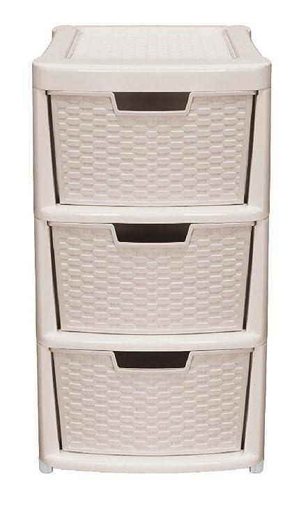 e43fb6e72 Plastic Rattan Drawer Storage Unit Cabinet Small & Medium Office School  Home Mini Organiser Draws Jewellery Box Boxes Chest (Mushroom, Medium 3  Tier): ...