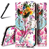 Galaxy A5 2017 Stand Case,Galaxy A5 2017 Wallet Case,A520 Flip Case,SKYMARS Samsung Galaxy A5 2017 Cover Gloss Skin 3D Creative Design PU Leather Flip Kickstand Cards Slot Wallet Magnet Stand Fit Case for Samsung Galaxy A5 2017 (SM-A520) Flower Elephant