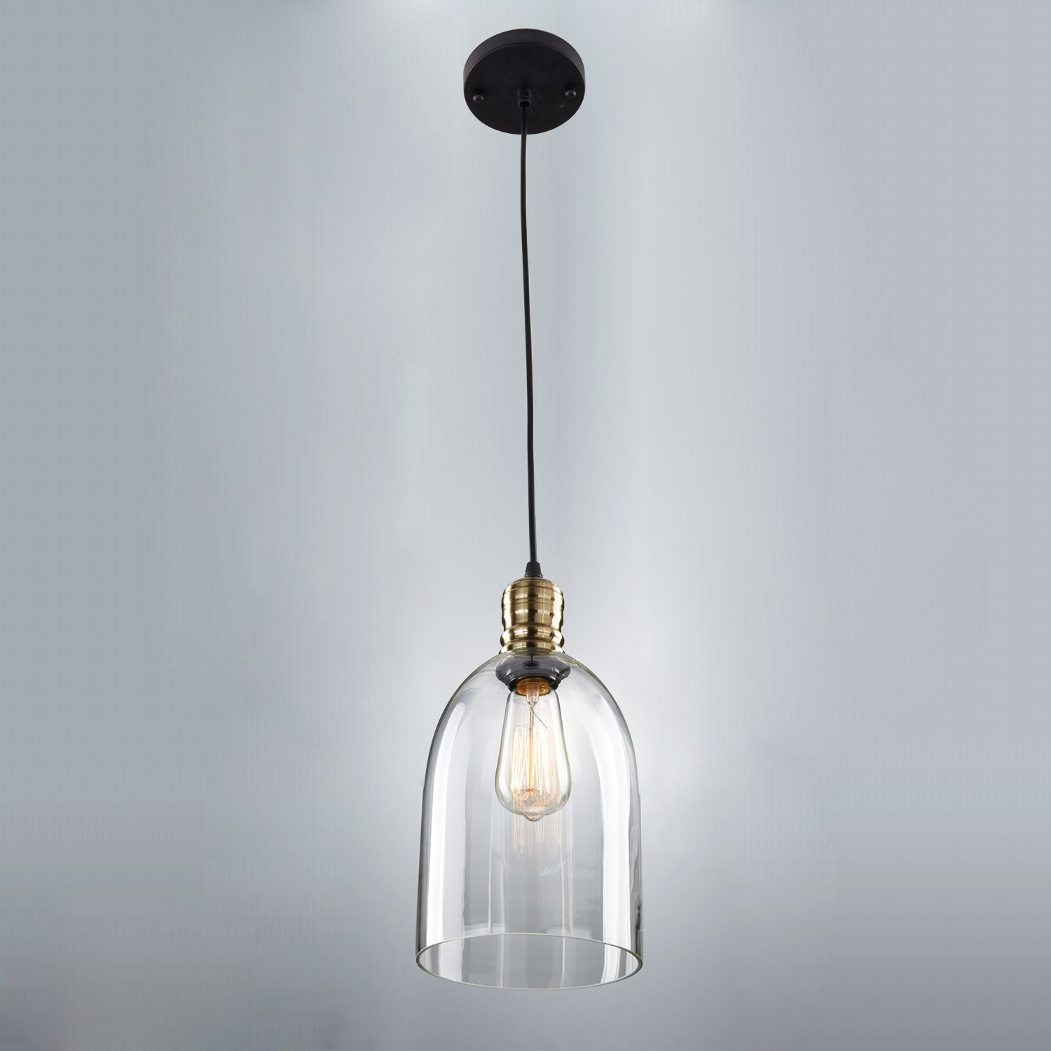 LESR YOBO Lighting Industrial Edison Hanging Vintage Mini Glass Shade Pendant Light Amazoncouk