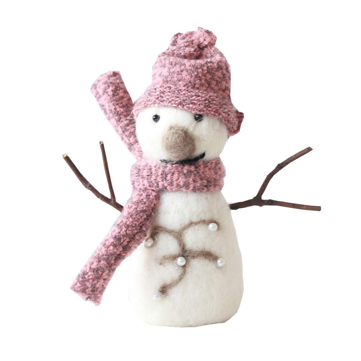 FREEDARE Christmas Decorations Wool Felt for Home Decor, Christmas Tree Decoration (Pink Snowman