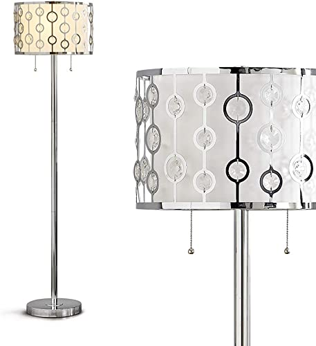 HOMEGLAM 61″H Glimmer Crystals on Metal Shade Floor Lamp Chrome/White Shade