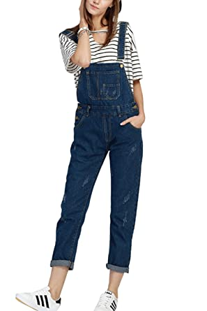 d998be32ca Simgahuva Womens Juniors Denim Overalls Plus Size Jumpsuit Long Pants   Amazon.co.uk  Clothing