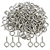 "100pcs 1 inch Small Screw Eye, Eye Shape Screw Hooks 1"" Lag Thread Self-Tapping Screws Hooks Ring Stainless Steel Silver Hanging Hooks Eyebolt Small Eyelet Screws Eyes Bolts for Resin, Jewelry"