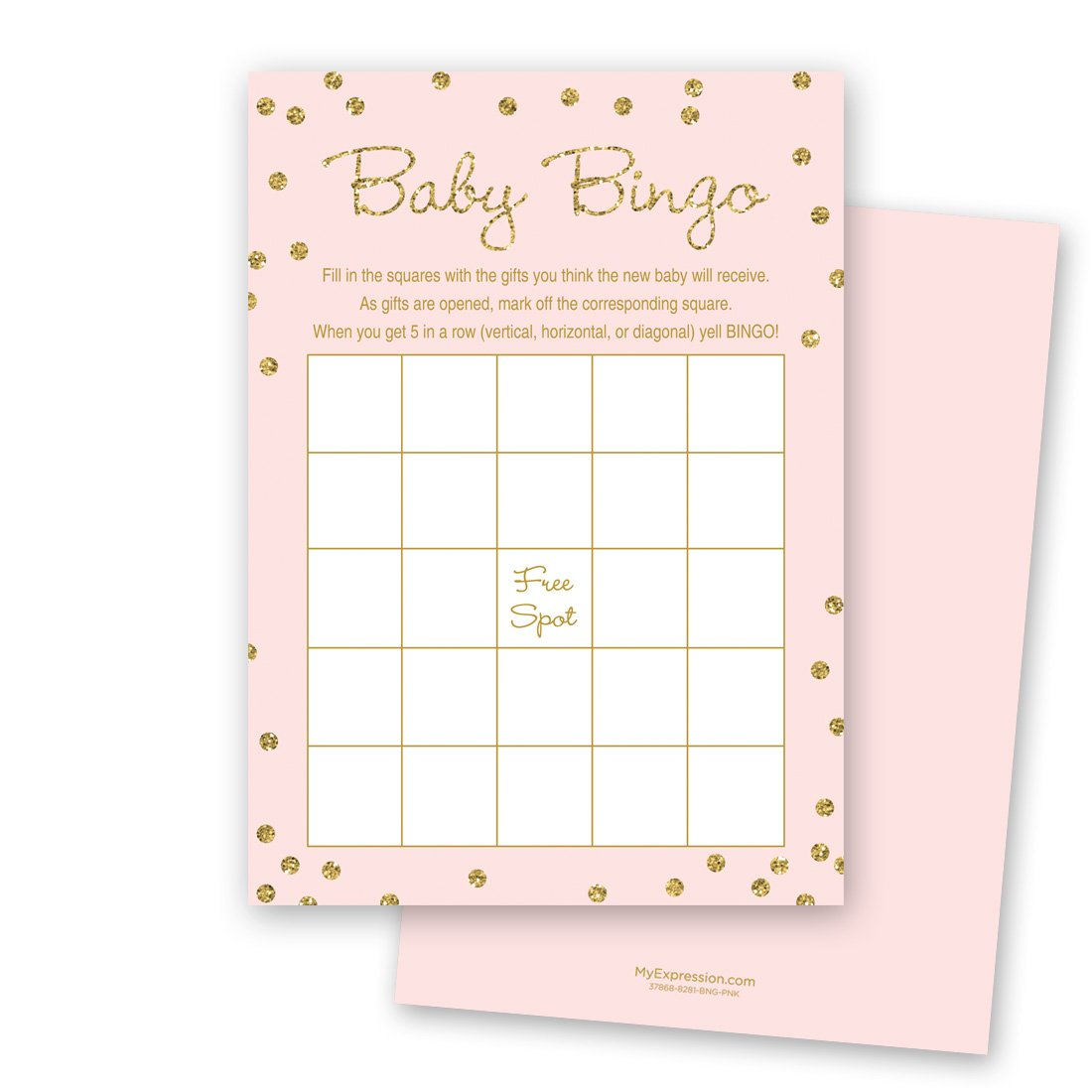 MyExpression.com 24 Cnt Gold Glitter Graphic Dots Pink Baby Bingo Cards