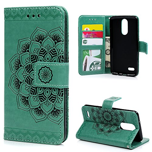 LG Aristo Case, LG Phoenix 3 Case, LG K8 2017 Case, LG Fortune Case, 3D Relief Embossed Mandala Pattern PU Leather Soft TPU Inner Card ID Holder Wrist Strap Stand Magnetic Flip Wallet Cover by YOKIRIN (The View Halloween 2017)