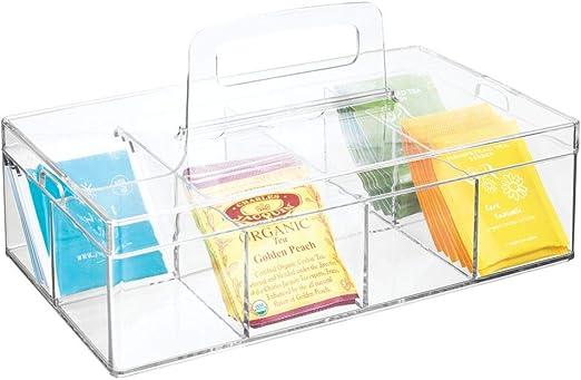 mDesign Organizador de Cocina – Práctica Caja de almacenaje para Cocina y despensa – Cesta con asa y 8 Compartimentos – Ideal para Guardar té, café, Especias y Otros Alimentos – Transparente: Amazon.es: Hogar
