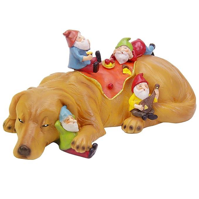 CCOQUS Garden Gnome Figurine Labrador Dog Statue, Funniest Gnome Garden Decor Sculpture (Light Brown Yellow)