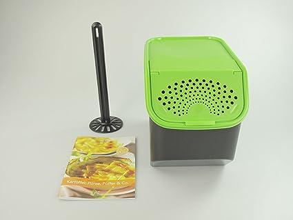 Tupperware patatas de almacenamiento 8,3l verde + Recetas Thermomix + Brazo de Meister Negro