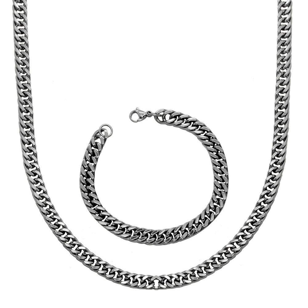 1 Collar Cadena + 1 Pulsera de acero inoxidable sólido en color plata Ø 10 mm 70 cm Set tumundo