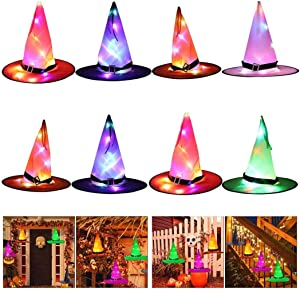 APzek 8 Pack Halloween Decorations Witch Hats Lights Outdoor Hanging Glowing Witch Hats Lights, Halloween Decor with Rope for Garden Tree Yard Home Indoor