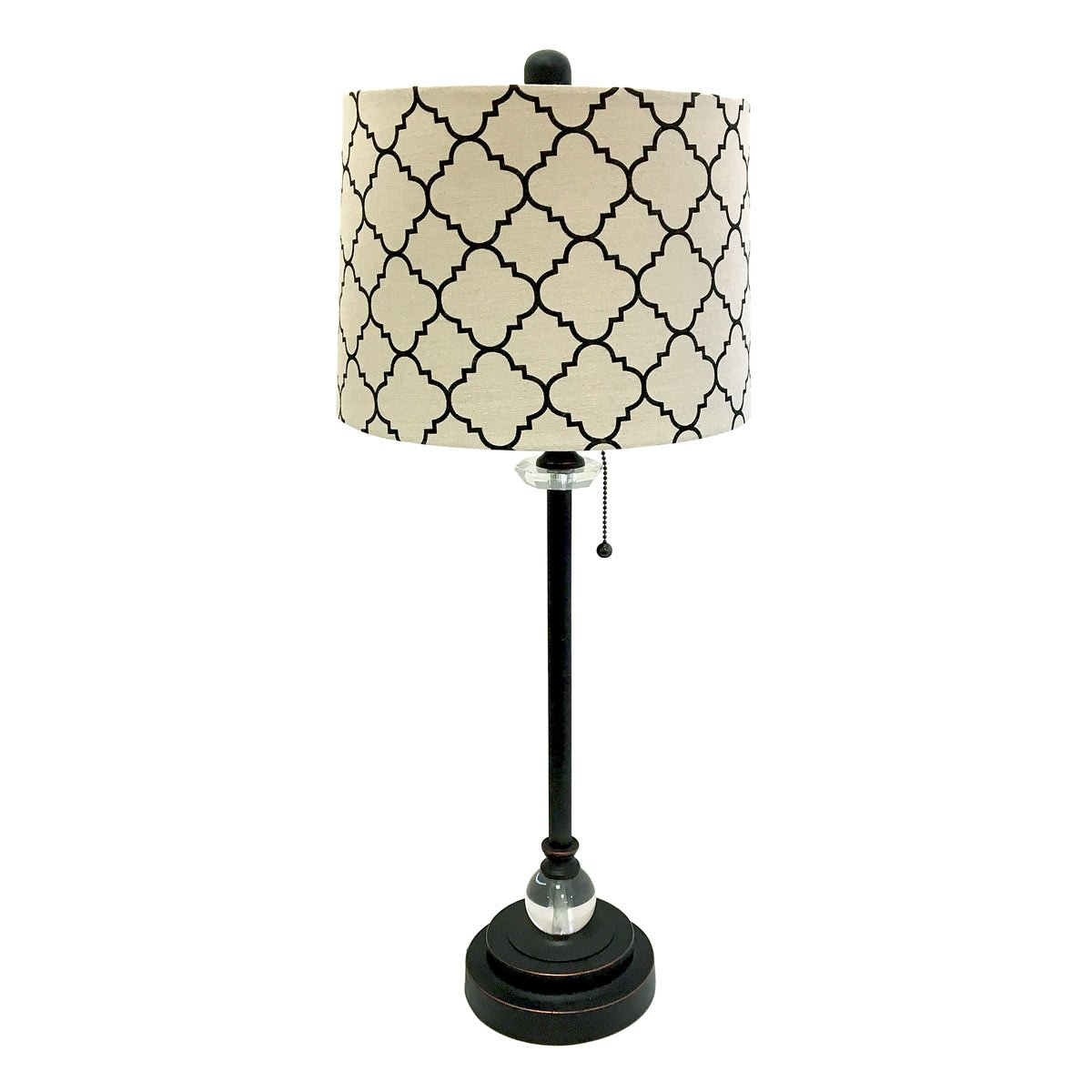 Royal Designs 28'' Crystal and Oil Rub Bronze Lamp with Eggshell and Black Moroccan Print Shallow Drum Hardback Lamp Shade