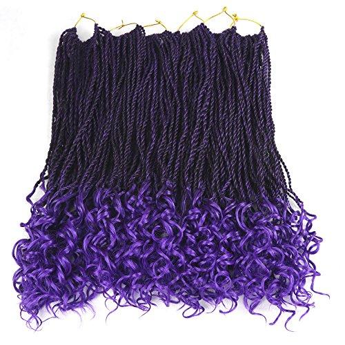 Senegal Wavy Twist Goddess Crochet Senegalese Twist Synthetic KaneKalon Braiding Hair Extention Senegalese Twist Hair 6 Packs (18 inch, T1B/Purple) (Best Brand Of Kanekalon Hair For Senegalese Twists)