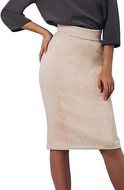 Zamtapary Faldas De Tubo para Mujer Oficina Casual Alta Cintura ...