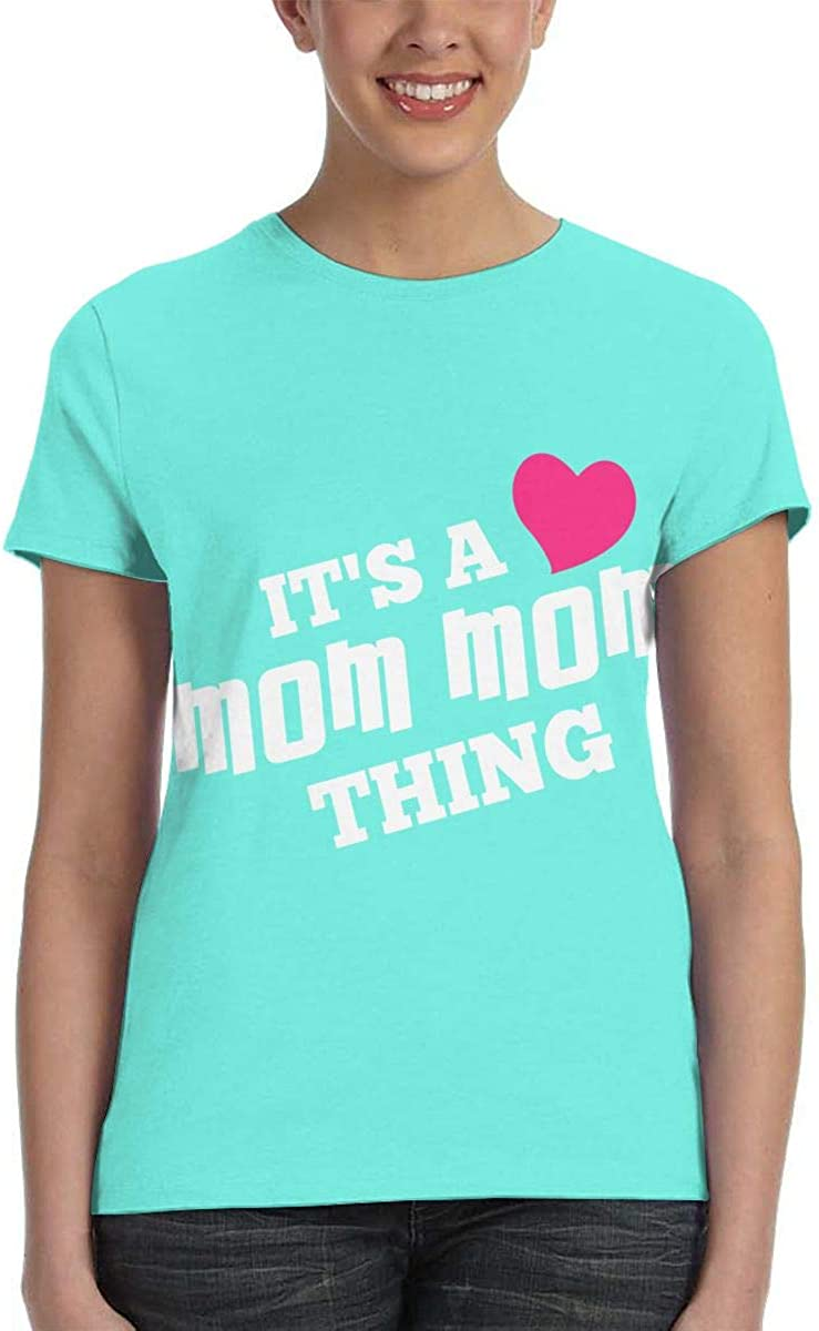 NuoKeSi Network MOM MOM Thing Mugs/&Stickers Womens Fashion Round Neck Loose Sports Casual T-Shirt Wild Short Sleeve