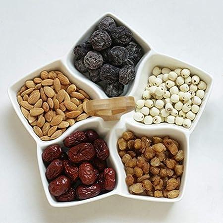 GPDUKUN Snack-Caja De Dulces Plato, Bandeja de almacenamiento Snacks Pétalo mango de madera seca placa