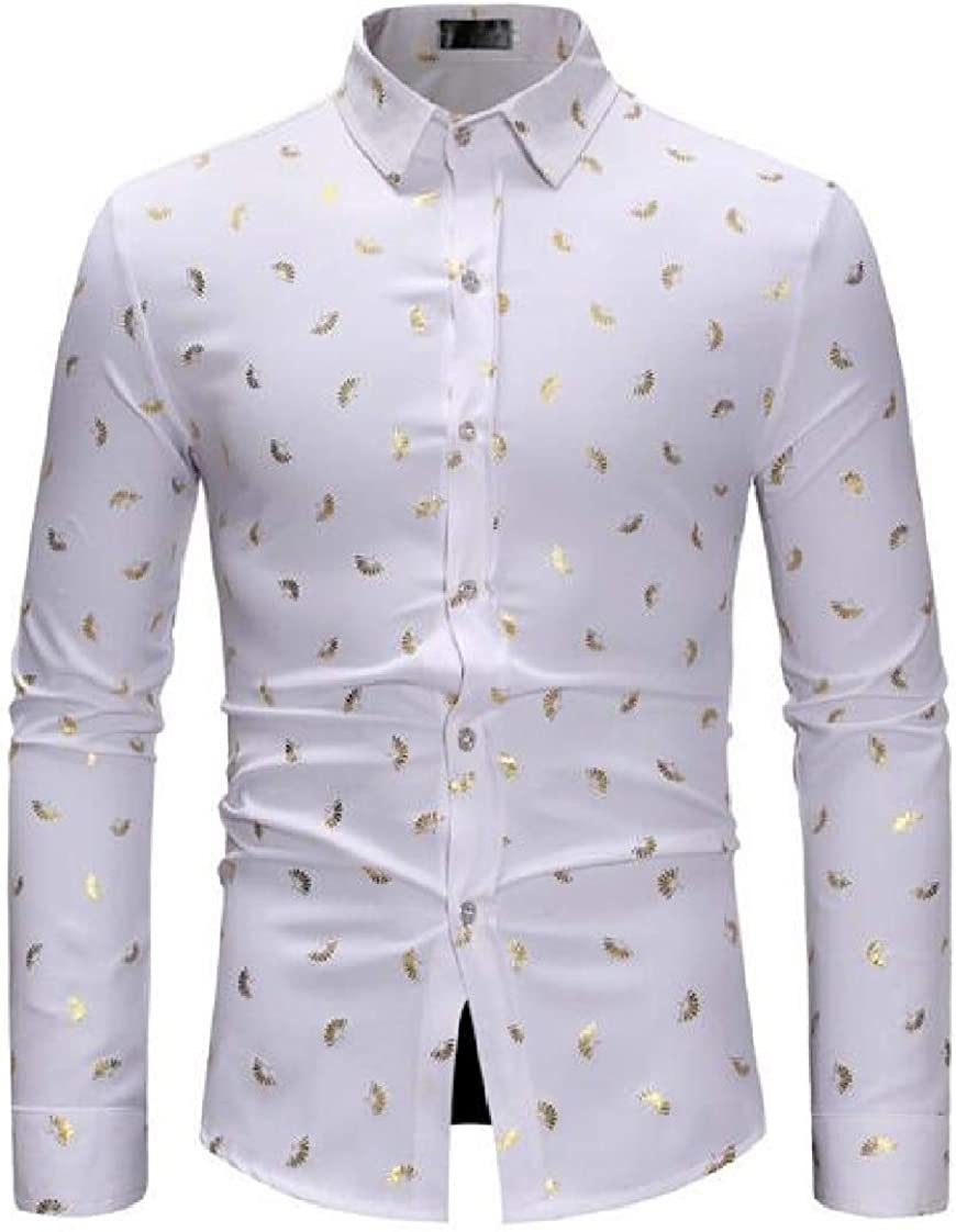 Prsun Men Long Sleeve Floral Print Stylish Casual Western Button Down Shirt