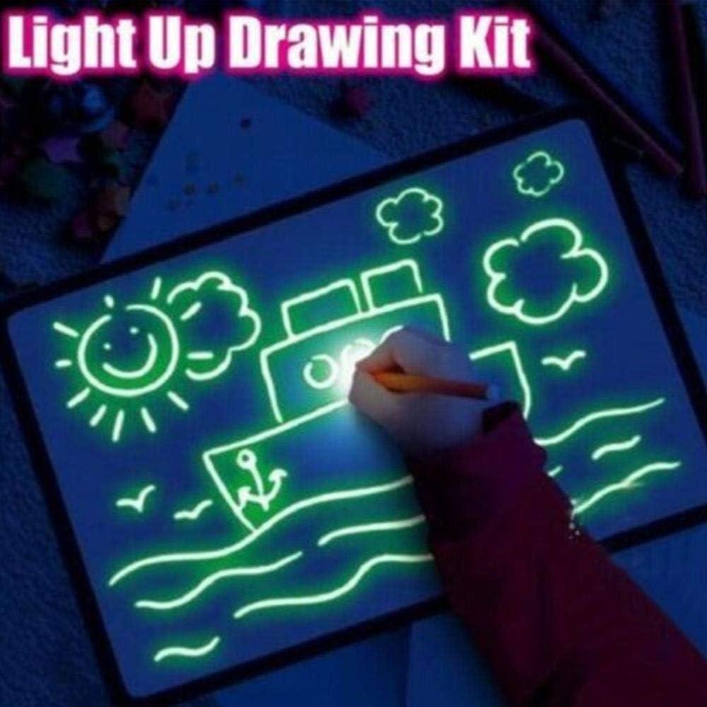 Geggur Doodle Drawing Mat Kind Zeichenbrett Magic Pen Schreiben Leuchttafel Magische Graffiti Tafel Fluoreszenz Graffiti Fluoreszierende Platte